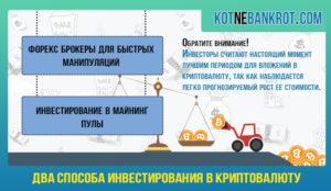 Инвестирование в криптовалюту: 2 способа