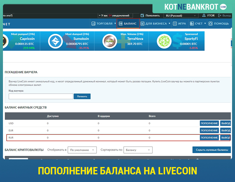 Пополнение баланса на Livecoin